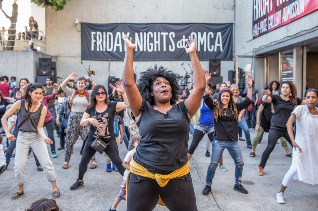 Dance instruction at Friday Nights at OMCA at the Oakland Museum of California