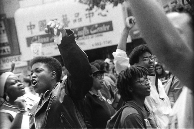Black and white image of a protest