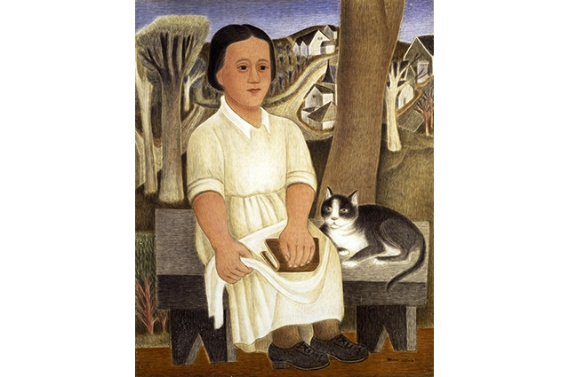 A painting of a woman in a white dress sitting on a bench beside a cat and holding a book. There is a town with a winding road and tress behind her