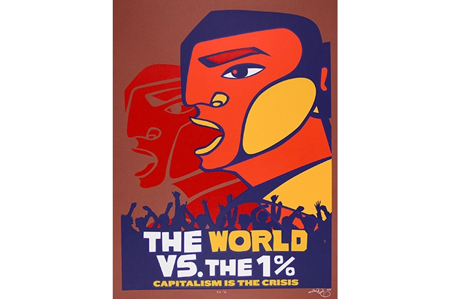 A colorful poster of a side profile of a person with a silhouette of a crowd of people at the bottom. The text reads: The World Vs. the 1%, Capitalism is the Crisis